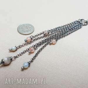 naszyjnik ze srebra i kamienia słonecznego 768, srebro oksydowane, długi