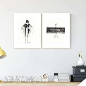 art krystyna siwek zestaw 2 grafik a4 wykonanych ręcznie, grafika czarno-biała