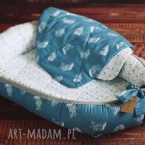 Kokon niemowlęcy z kołderką - dmuchawce i pióra pokoik dziecka