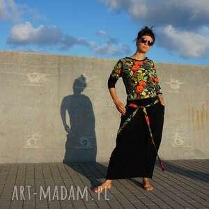 czarna spódnica maxi - maki, boho styl, do kostki, długa