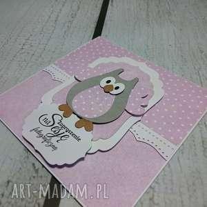 zaproszenie kartka elegancka sowa w fiolecie - zaproszenie, sesja, urodziny, chrzest