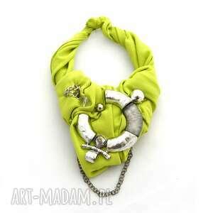 limoncini naszyjnik handmade, naszyjnik, kolia, limonka, neon, zielony