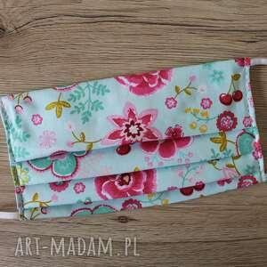 maseczka bawełniana - kwiaty na turkusowym tle, maseczka, maseczki, maska