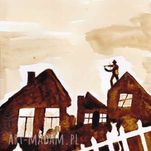 skrzypek na dachu - obraz kawą malowany aksinicoffeepainting - płot