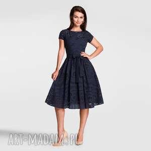 hand-made sukienki sukienka marie midi haft richelieu (granat)