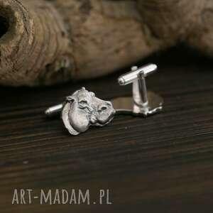 hipopotamy srebrne spinki do mankietów, biżuteria
