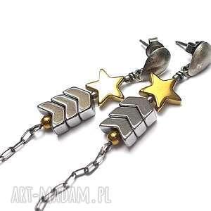 prezent na święta, pagony vol 2 - kolczyki, pagony, długie, srebro, militarne