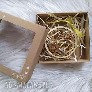 drewniana bombka z imieniem, pudełko, drewniana, bombka, zawieszka