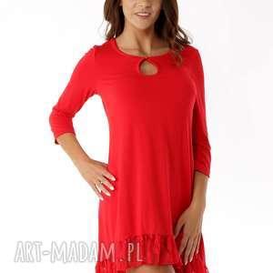 hand-made tuniki sukienka tunika oversize z koronką czerwona