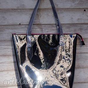mana neon black grey - torebka, czarna, duża, błyszcząca, ramię, shopper