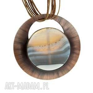 Prezent Agatowe krajobrazy naszyjnik z miedzi c615, biżuteria-z-agatem