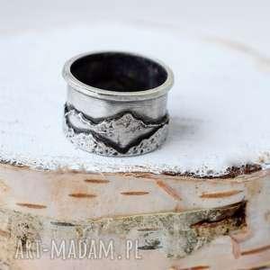 obrączki obrączka z górami, góry, miłośnik gór, ręcznie wykonane, srebro