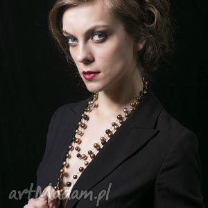 Złoty sznur pereł-naszyjnik - ,długi,naszyjnik,srebro,perły,swarovski,