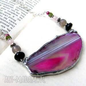 Naszyjnik z agatem: różowy, naszyjnik-z-agatem, kolorowy-naszyjnik
