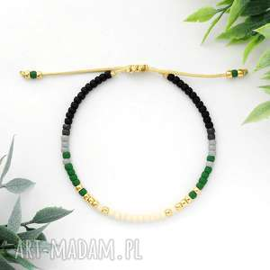 ręcznie zrobione bransoletka minimal - autumn green
