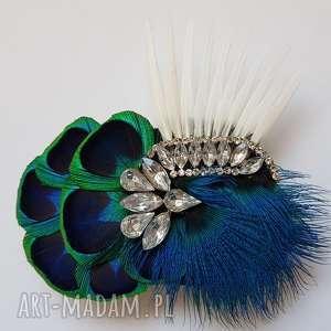 ozdoby do włosów fascynator broszka z pawich piór - cyrkoniowe szaleństwo