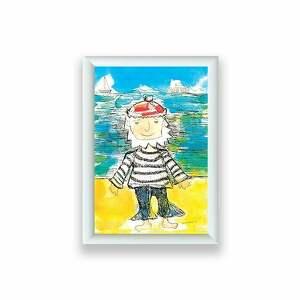 oprawiony mały obrazek z marynarzem, marynarska dekoracja, grafika styl