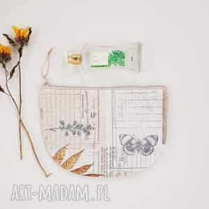 kosmetyczka półksiężyc - ,saszetka,motylek,vintage,kosmetyczka,piórnik,beżowa,