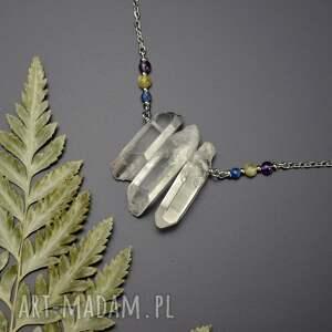 naszyjniki naszyjnik z kryształami górskimi, stal chirurgiczna, kyanit, opal