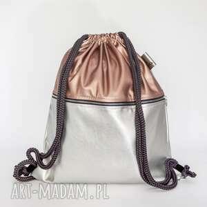 srebrno - pudrowy, srebrny, worek, plecak
