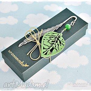 zielony liść - zakładka do książki, zakładka, książka, liść, prezent, botaniczna