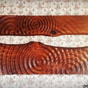 obraz z drewna, panele ozdobne litego drewna dębowego i wzorem kropli wody