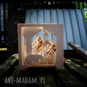handmade świeczniki drewniany świecznik przez las - do gór
