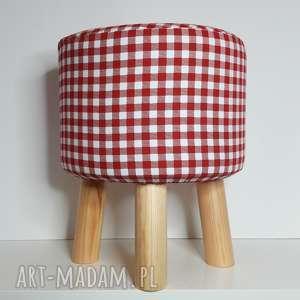 pufa czerwona krateczka - 36 cm, puf, taboret, hocker, stołek, siedzisko
