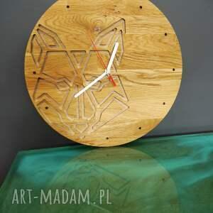 zegary zegar ścienny z drewna dębowego,frez, wilk,natura, ścienny, wilk