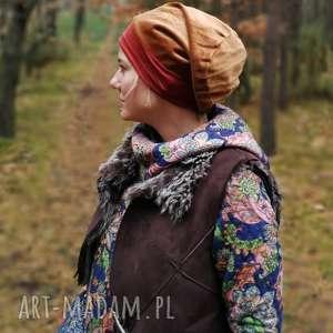 czapka damska brąz aksamit jesienna - czapka, etno, boho, kolorowa, aksamit, turban