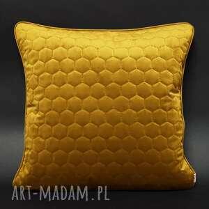 majunto poduszka welur plastry miodu musztarda 45x45cm, welur, welurowa