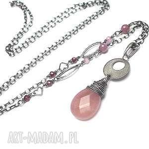 kropelka /ruby/ vol 2 - naszyjnik, srebro, jadeit, rubiny, granaty, długi