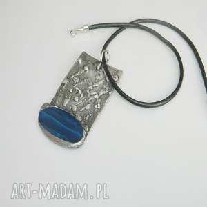 Niebieski agat wisiorki esterka miedziany, wisior unikalna