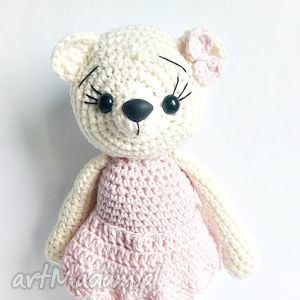 Kremowa misia w różowej sukience - ,misie,maskotki,miś,rękomiś,przytulanka,