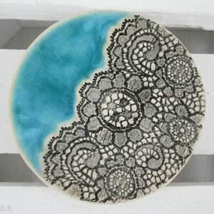 fusetka ceramiczna z koronką - ,talerzyk,mały,ceramiczny,koronkowy,