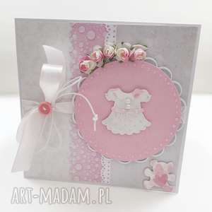 Kartka w pudełku dla dziewczynki, kartka, dziewczynka, chrzest, roczek