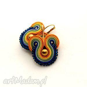 kolorowe kolczyki sutasz z hematytem, soutache, sznurek, koraliki, wesołe, słoneczne