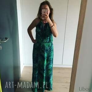 sukienka damska life palmowe liście, maxi damsk, liscie print