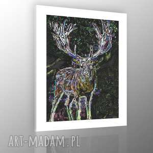 Obraz na płótnie 50x70 tlo biale Oczy jelenia, obraz, jeleń, nowoczesny, pejzaż