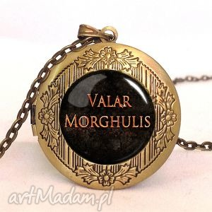 valar morghulis - sekretnik z łańcuszkiem egginegg napisem, tron