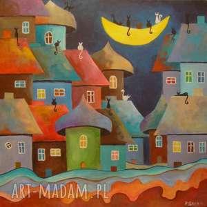 obraz na płótnie - bajkowe miasteczko 40/40 cm, bajka, akryl, domki, koty