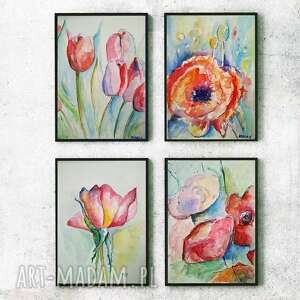 kwiaty - cztery akwarele każda formatu 18/24 cm, akwarele, kwiaty