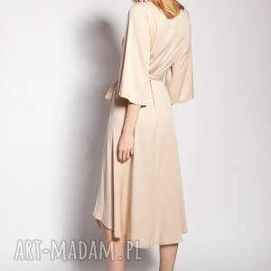 sukienka kopertowa, suk185 beż, wiązana, wyjściowa, elegancka