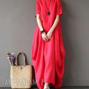 sukienki sukienka czerwona oversize bawełna
