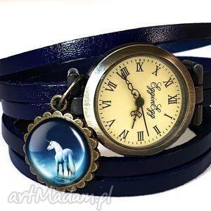 ręcznie zrobione zegarki jednorożec - zegarek / bransoletka na skórzanym pasku