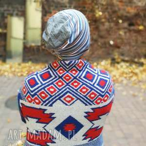 Czapka męska damska handmade sportowa w paski czapki ruda klara
