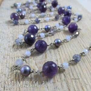 długi naszyjnik - perły,ametyst, srebro, ametyst, perła, chalcedon, iolit
