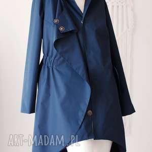 hand-made płaszcze płaszcz asymetryczny granatowy