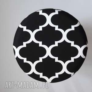 hand-made pokrowiec na pufa czarna koniczyna maroco