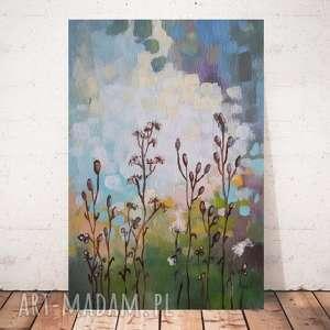 abstrakcyjna łąka -obraz akrylowy formatu 20/30 cm, łąka, akryl, abstrakcja